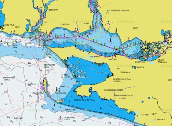 Карта Navionics+река Днепр + Средиземное и Черное море